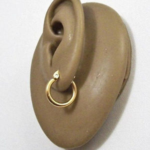 Small Thick Hoops Pierced Earrings Gold Tone